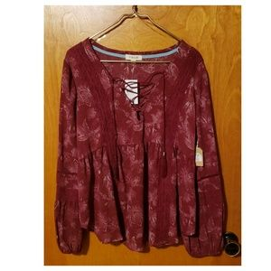 Burgundy Long-Sleeved Blouse